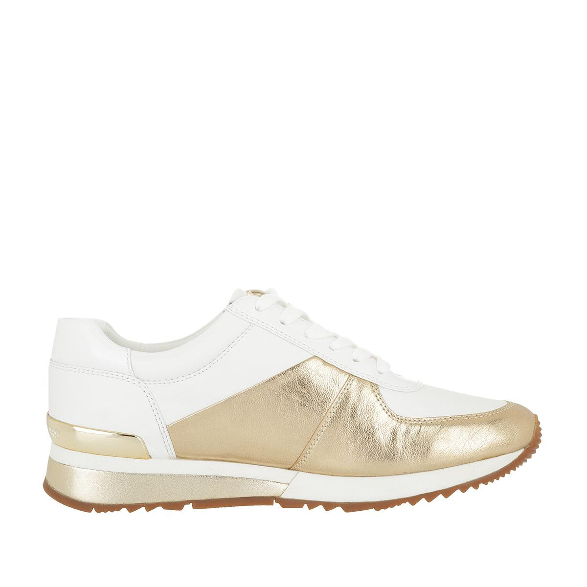 Michael Kors Allie Wrap Trainer Sneaker Leather Pale Gold/white in Metallic
