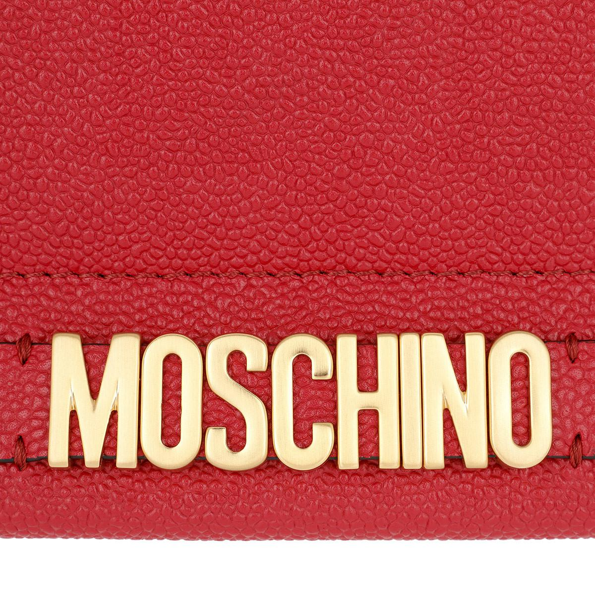 Moschino Leather Logo Chain Crossbody Bag. Burgundy in Red