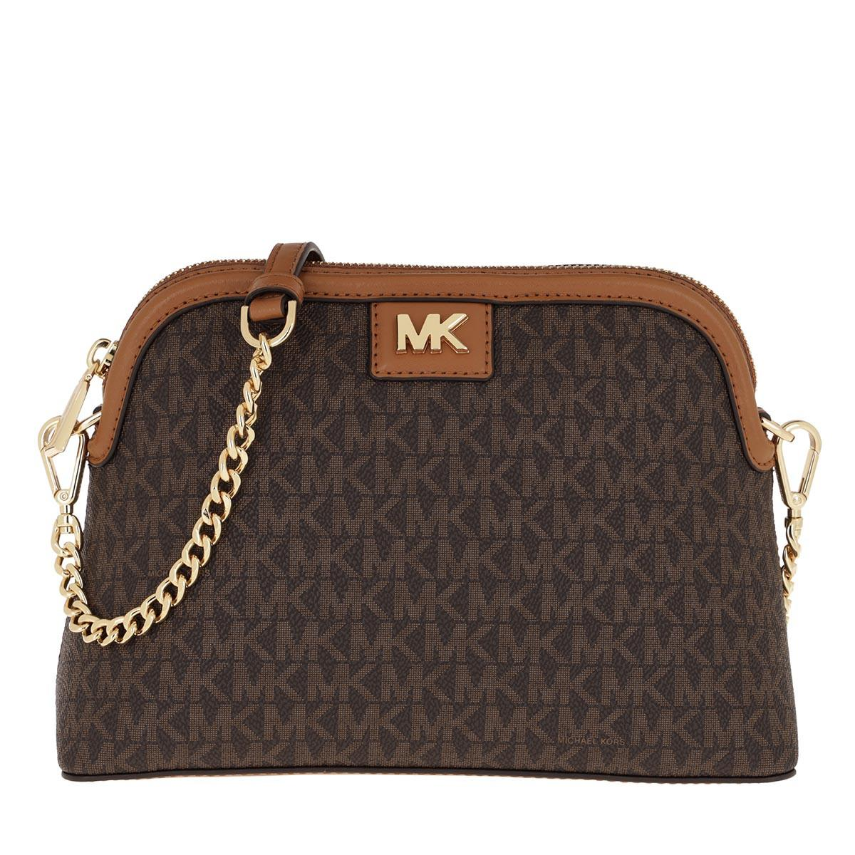 Grand sac �� bandouli��re de forme arrondie avec logo Toile Michael Kors - 3 % de réduction