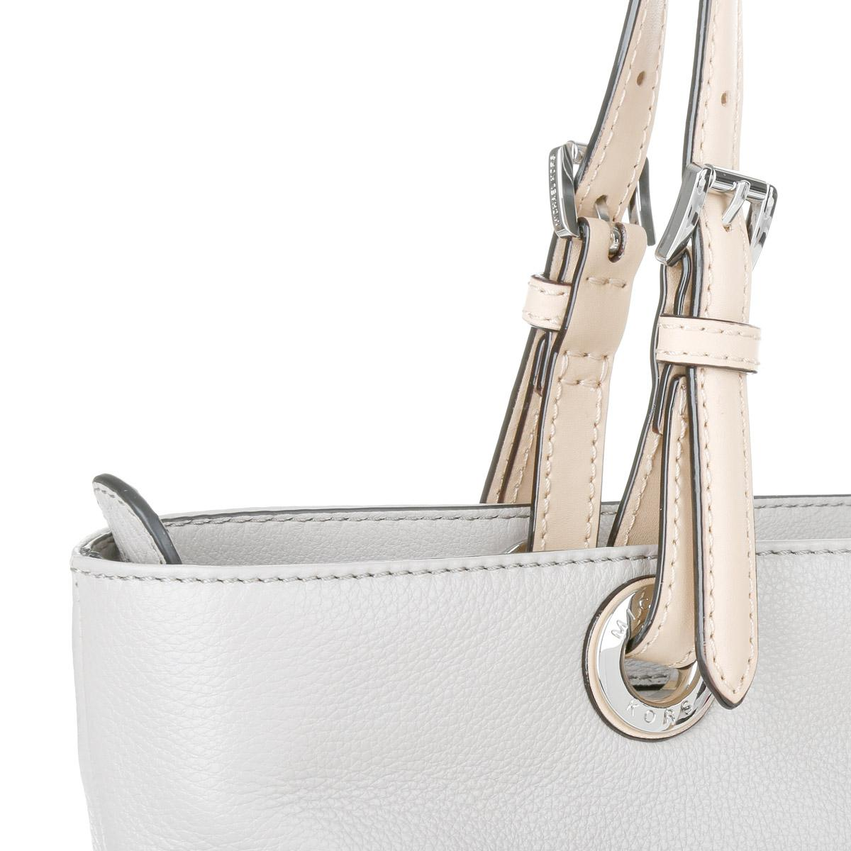 Michael Kors Leather Bedford Tz Pocket Tote Pearl Grey in Grey