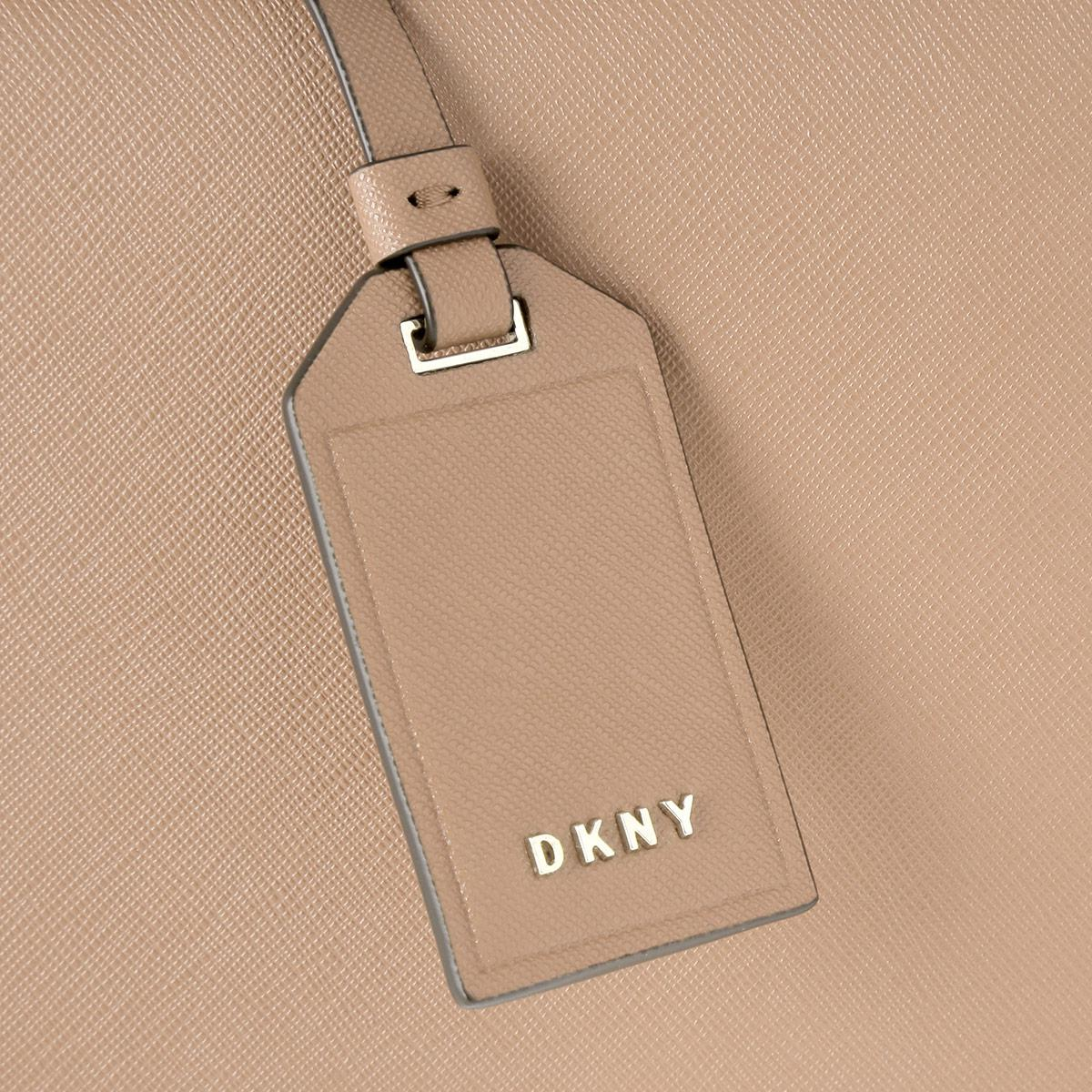 DKNY Leather Bryant Park Soft Saffiano Mini Tote Crossbody Tarp in Beige (Natural)