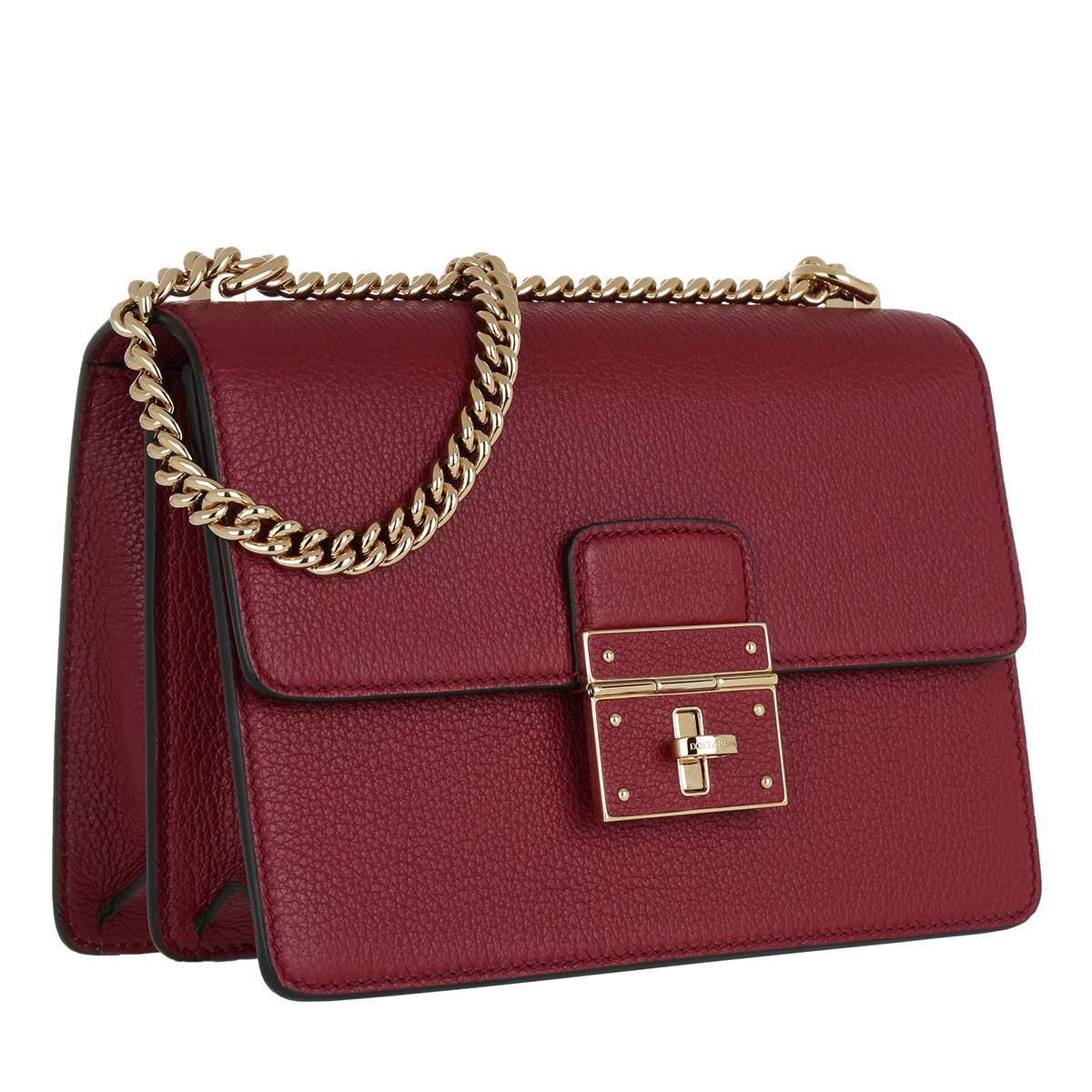 Dolce & Gabbana Leather Rosalia Crossbody Bag Red