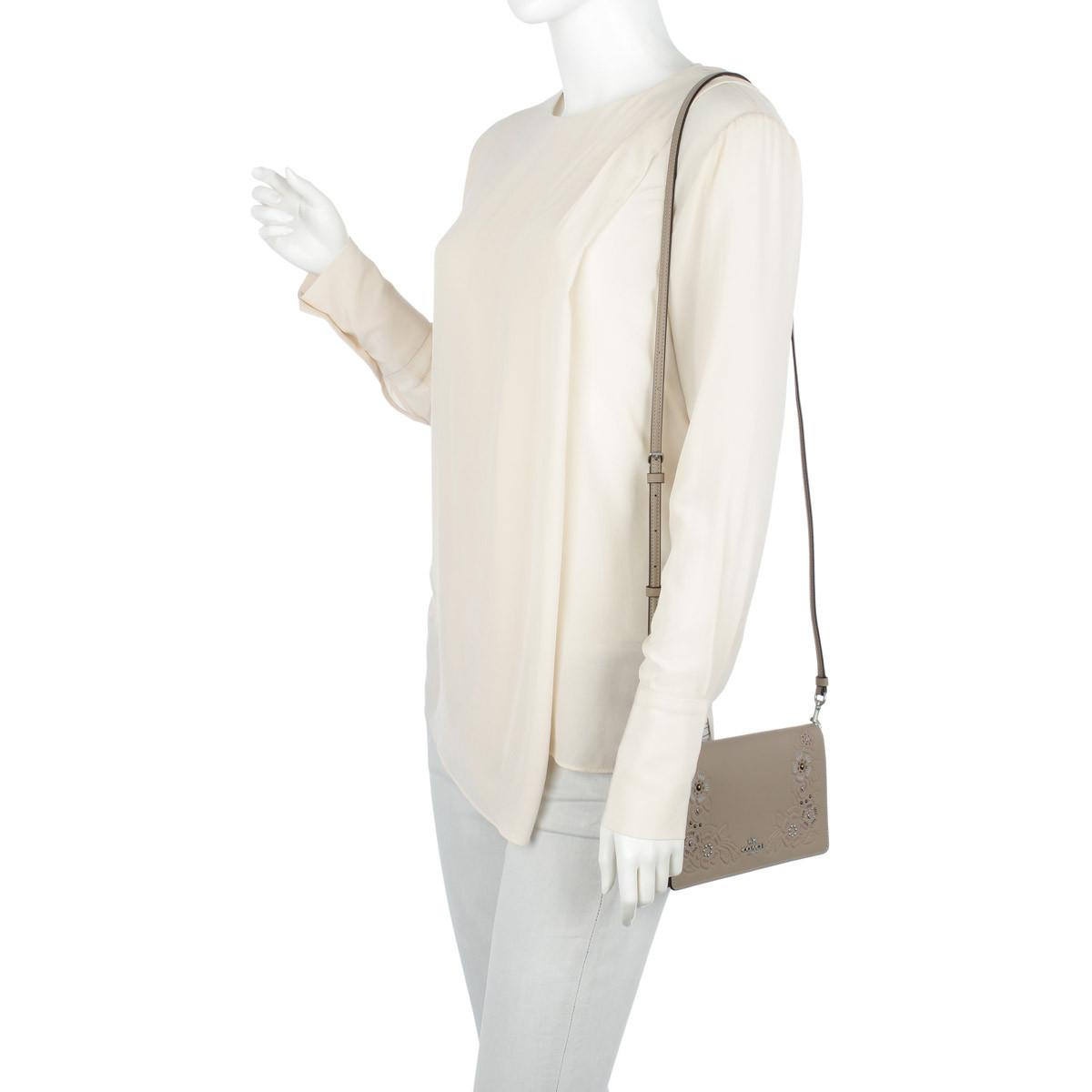 COACH Leather Tea Rose Tooling Foldover Crossbody Bag Stone Multi