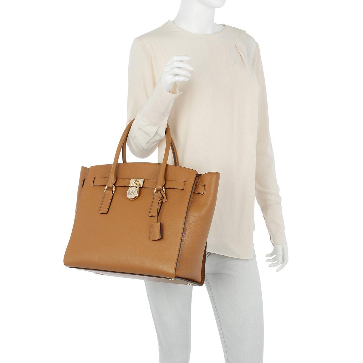 Michael Kors Leather Hamilton Xl Tote Acorn in Brown