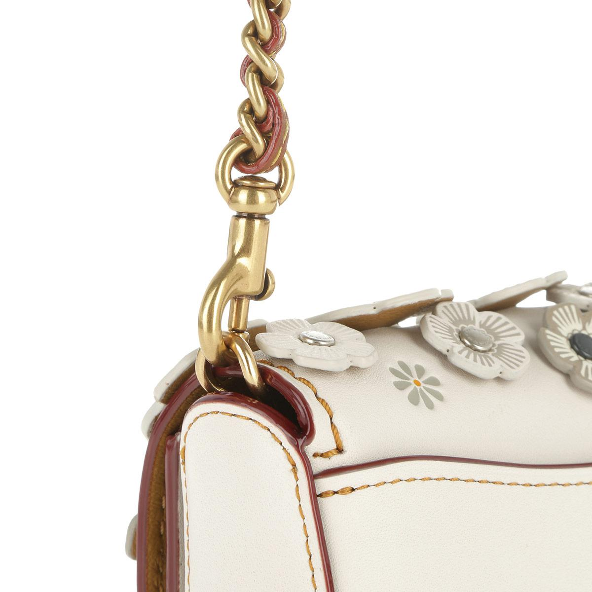 COACH Leather Dinky Small Tea Rose Crossbody Bag Old Brass/chalk