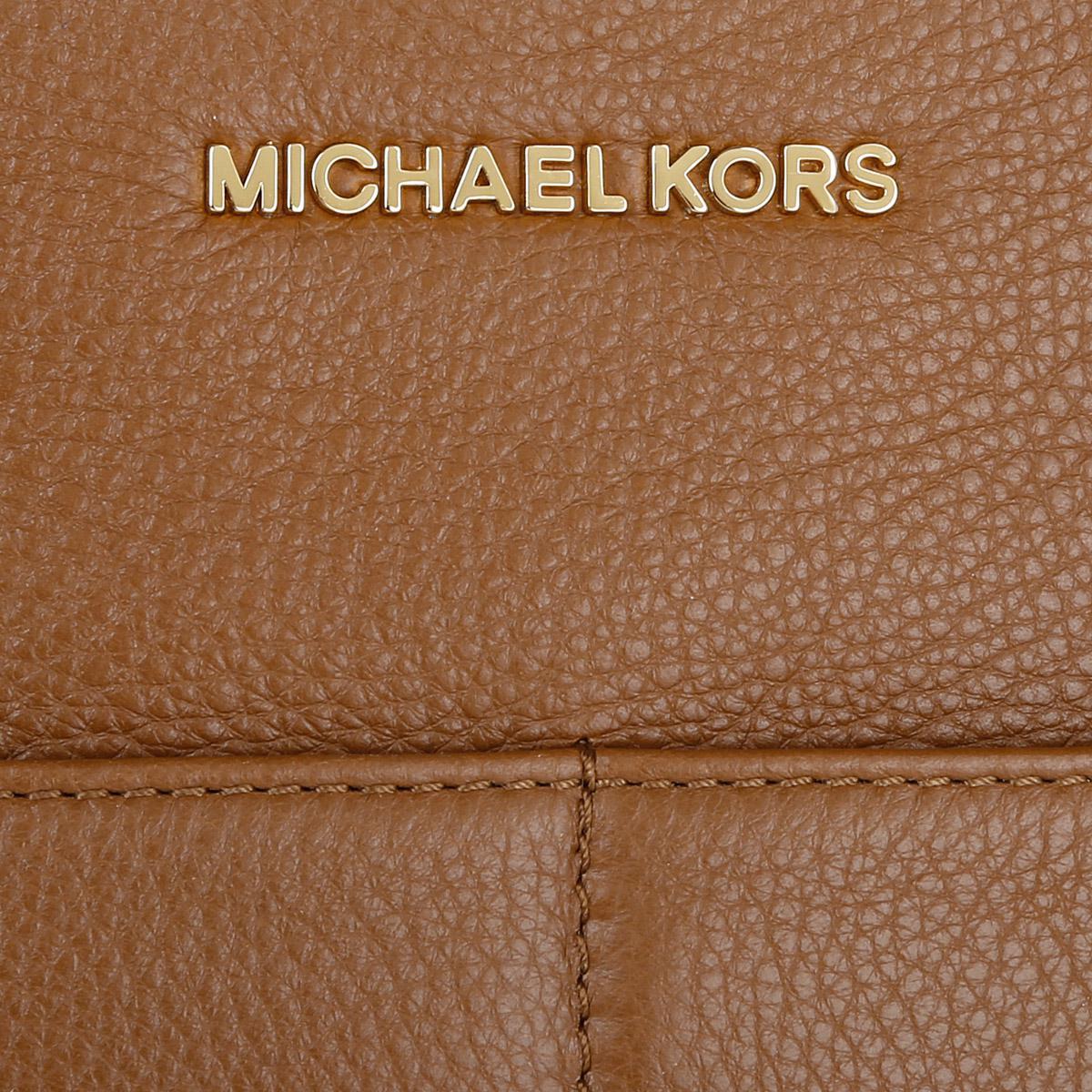 Michael Kors Leather Bedford Tz Pocket Tote Luggage