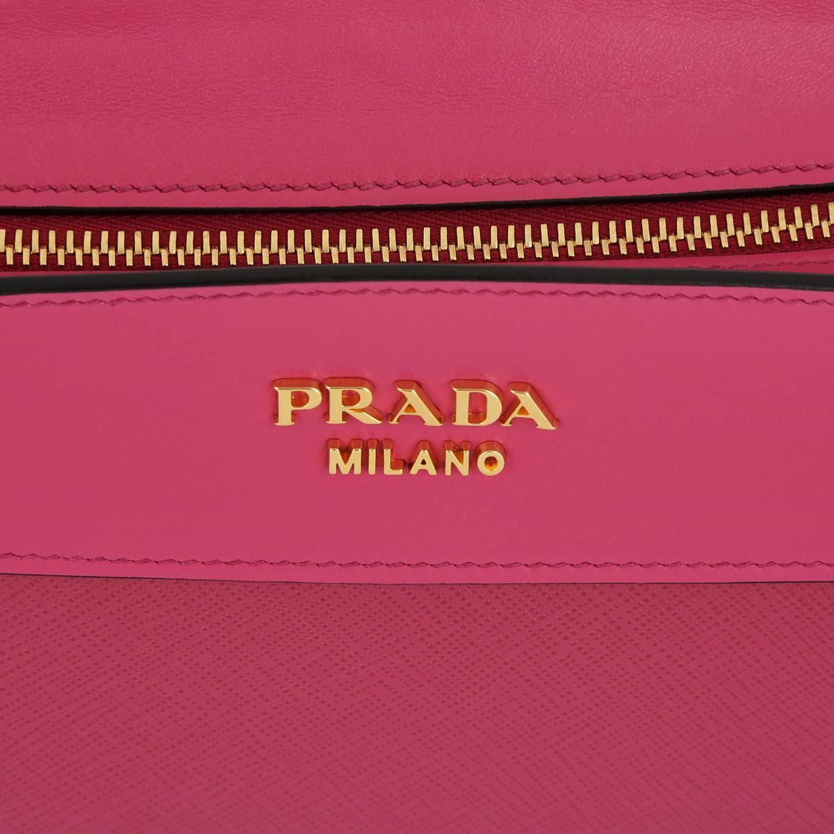 Prada Leather Esplanade Saffiano+city Calf Crossbody Fuxia in Pink