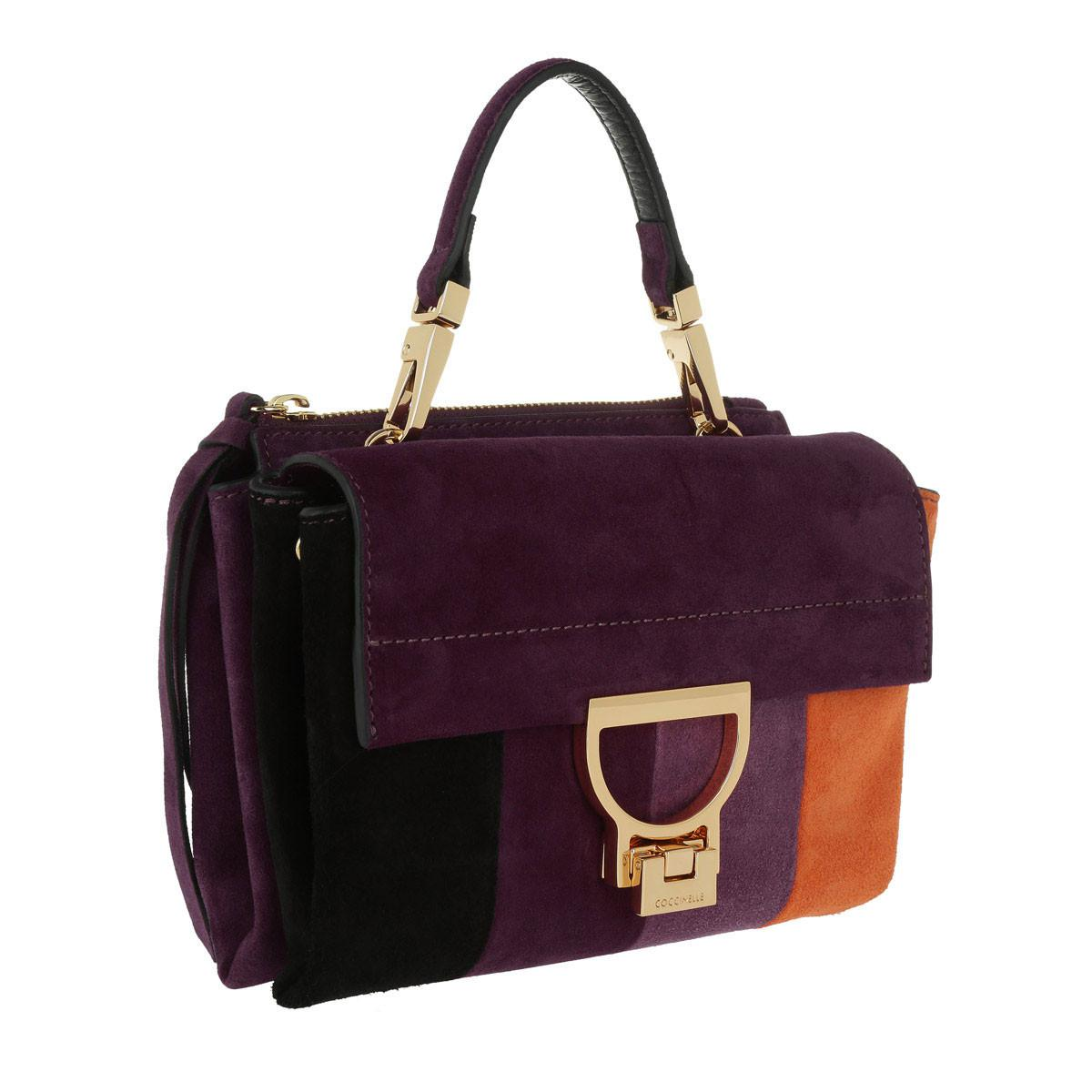 Coccinelle Suede Arlettis Stripes Patch Crossbody Bag Multicolor in Purple