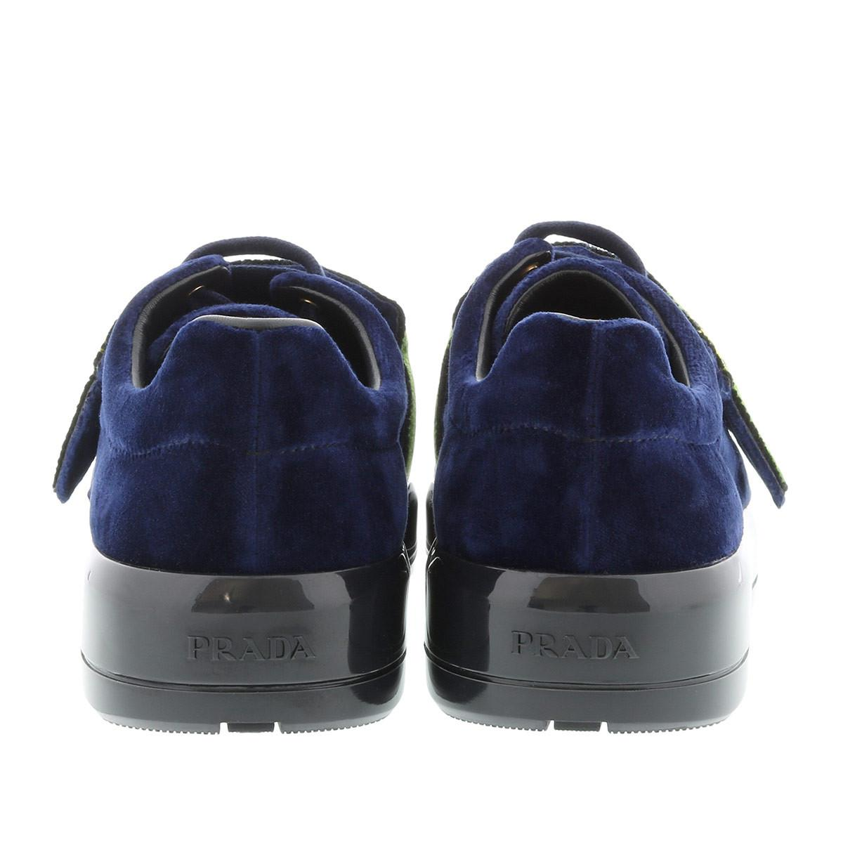 Prada Cahier Velvet Sneaker Inchiostro in Blue