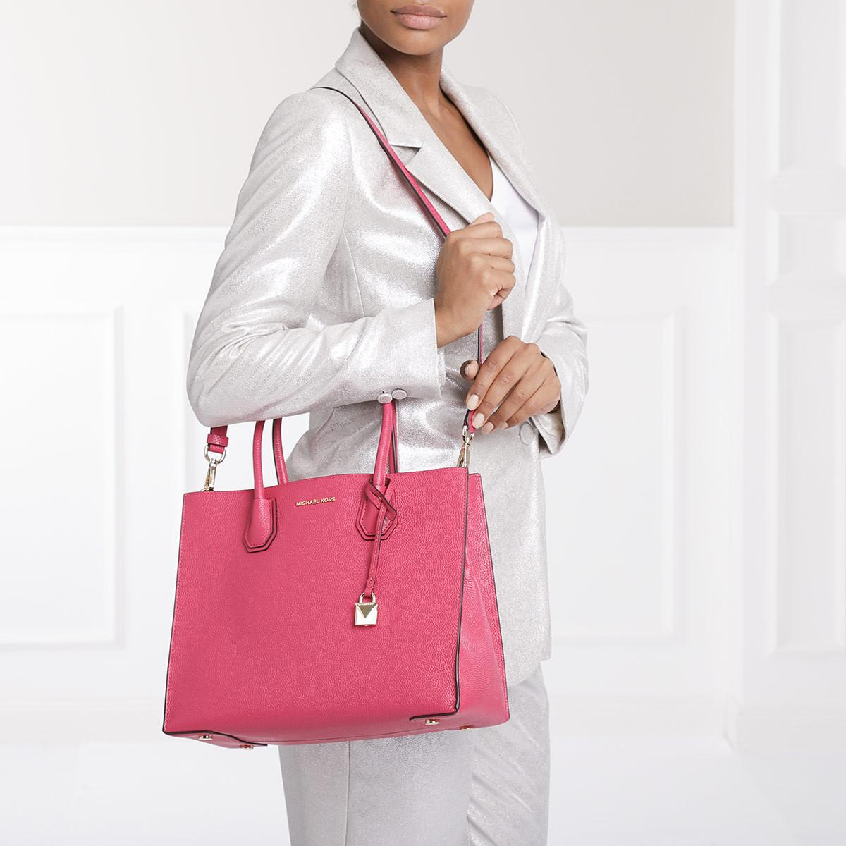 MICHAEL Michael Kors Leather Mercer Lg Convertible Tote Ultra Pink