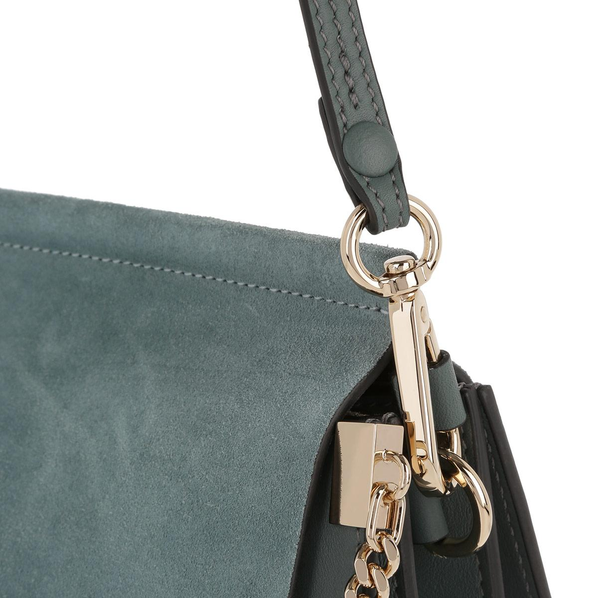 Chloé Faye Tote Bag Suede Flap Cloudy Blue