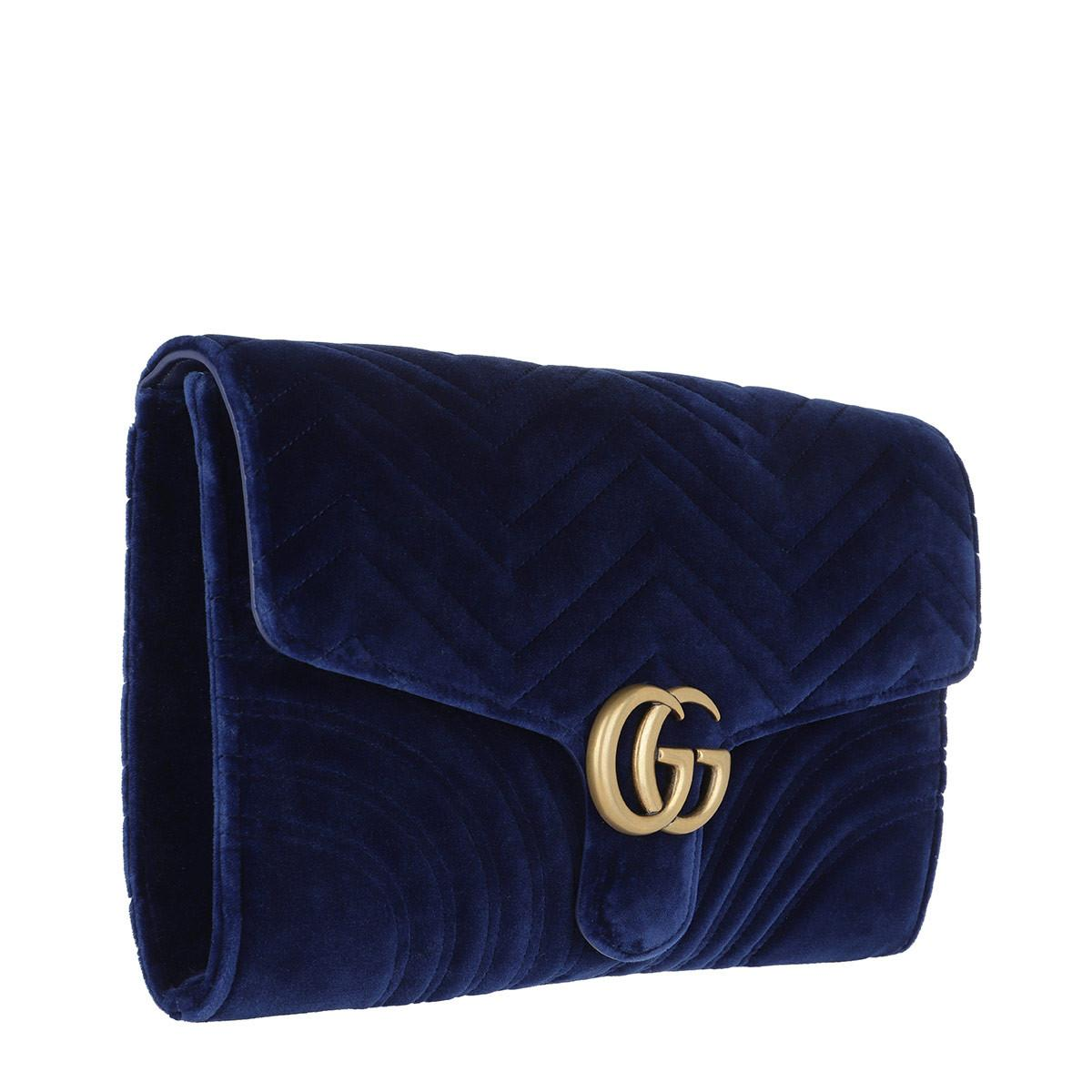 dd000dd1875 Gucci - Blue GG Marmont Velvet Clutch Cobalt - Lyst. View fullscreen