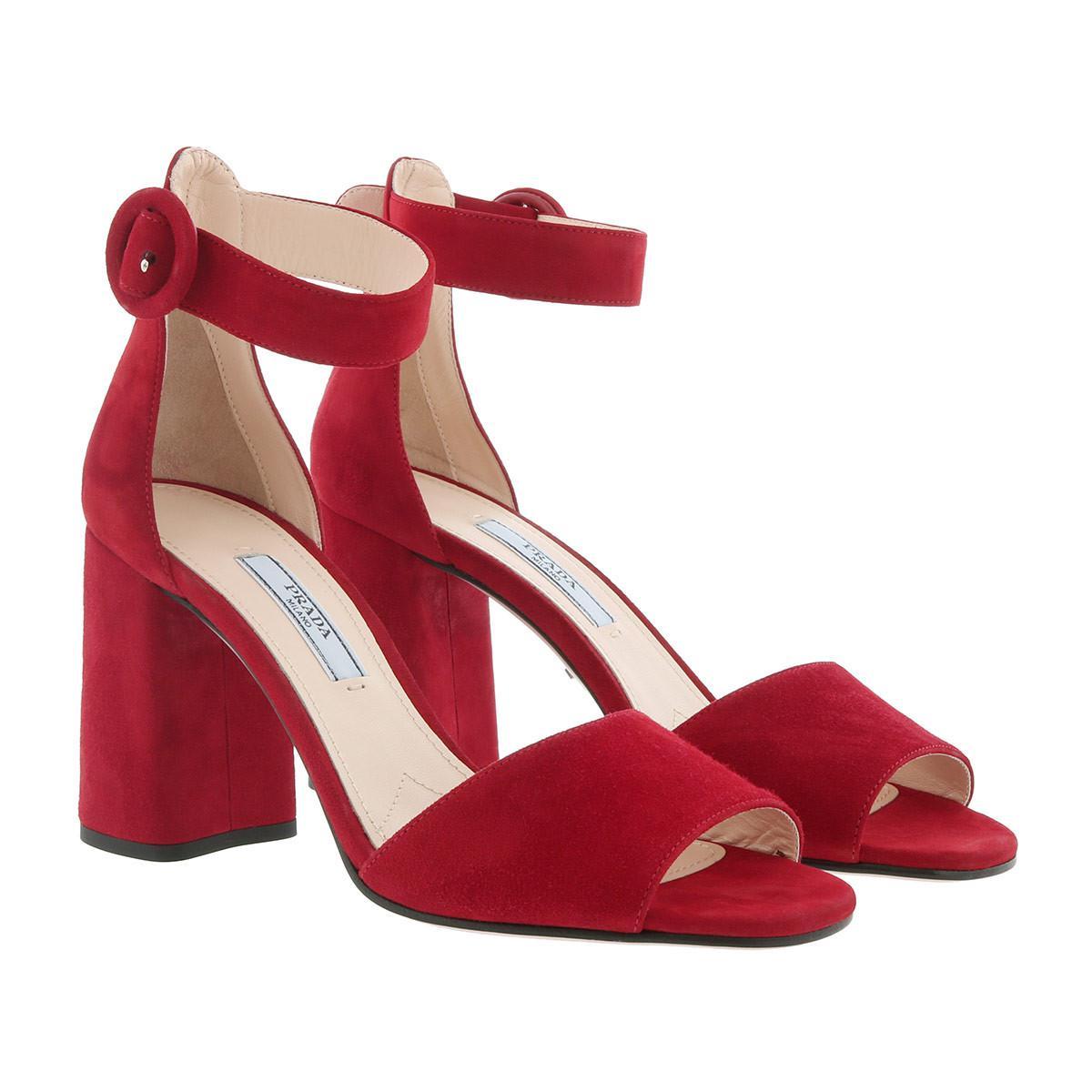 Sandales - Bout Ouvert Sandales À Talons En Cuir Rosso - Sandales Pour Dames - Prada Rouge RUlAbeiaf