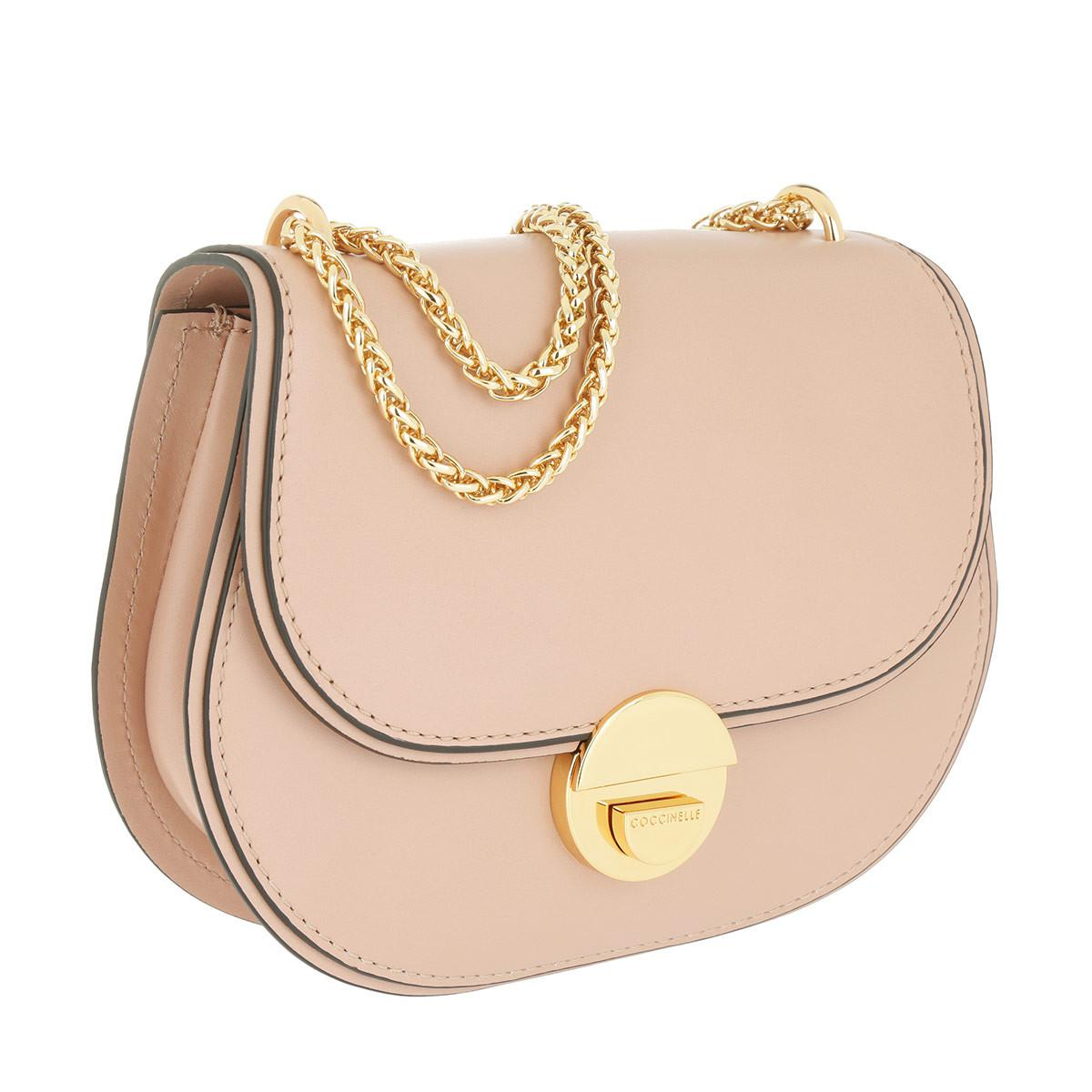 Coccinelle Leather Violaine Chain Crossbody Bag Pivoine in Natural