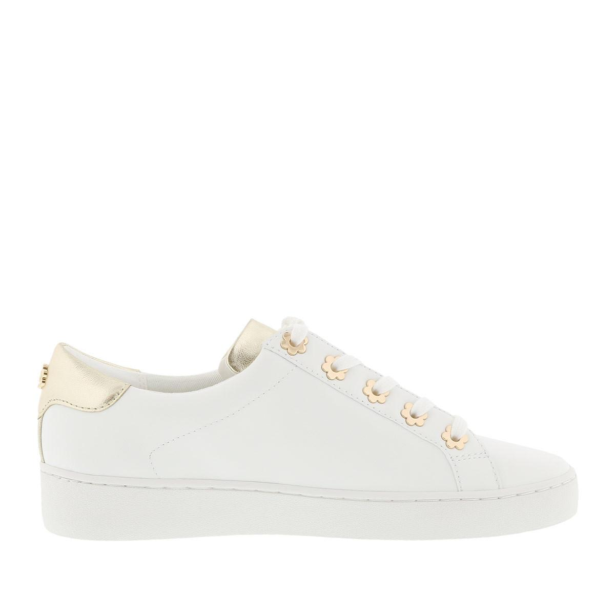 Michael Kors Leather Irving Lace Up Sneaker Optic White/gold in Metallic