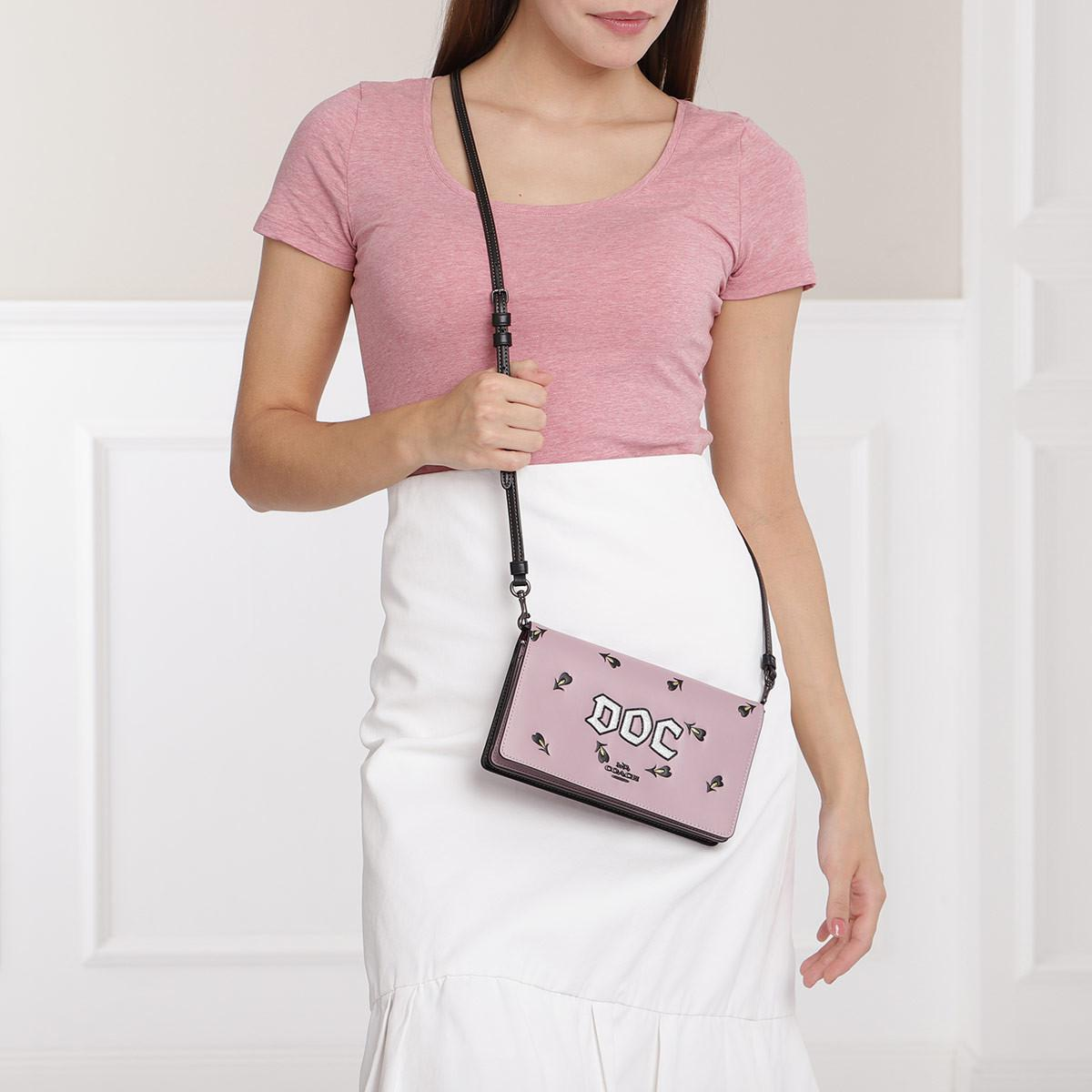 COACH Leather Doc Foldover Crossbody Clutch Jasmine in Pink