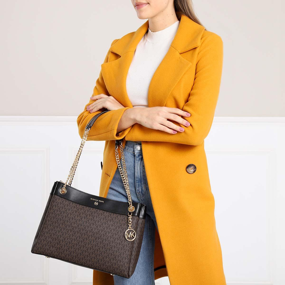 Susan MD Shoulder Brown/Black en Synthétique Michael Kors