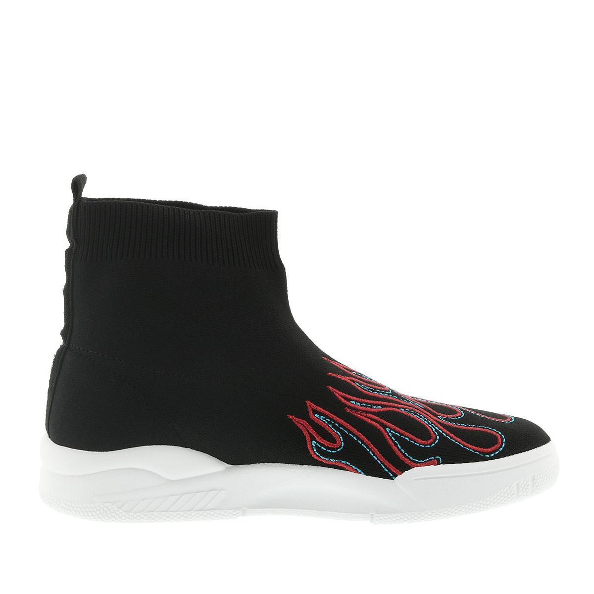Chiara Ferragni Leather Sock Sneaker Femme Black