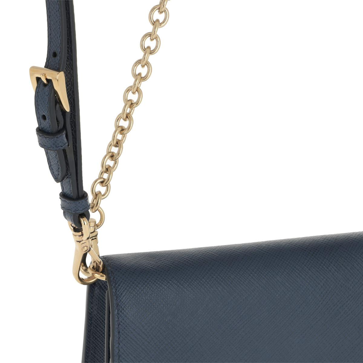 5d73cd009c05 Prada - Logo Wallet On Chain Saffiano Leather Bluette - Lyst. View  fullscreen