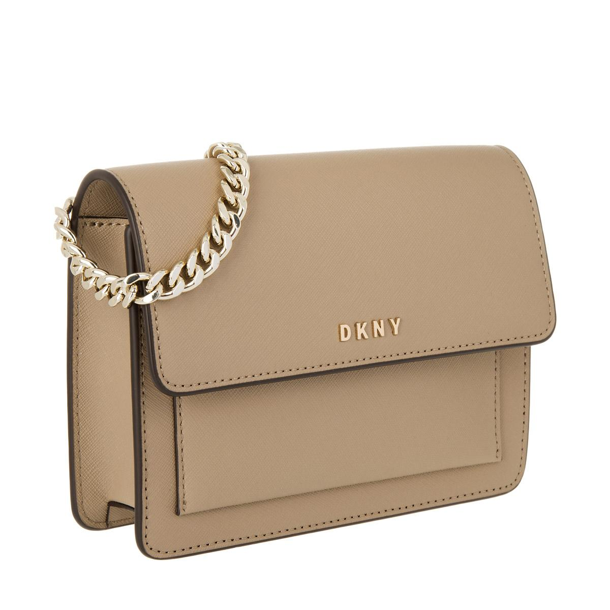 DKNY Leather Bryant Park Chain Item Mini Flap Crossbody Bag Natural