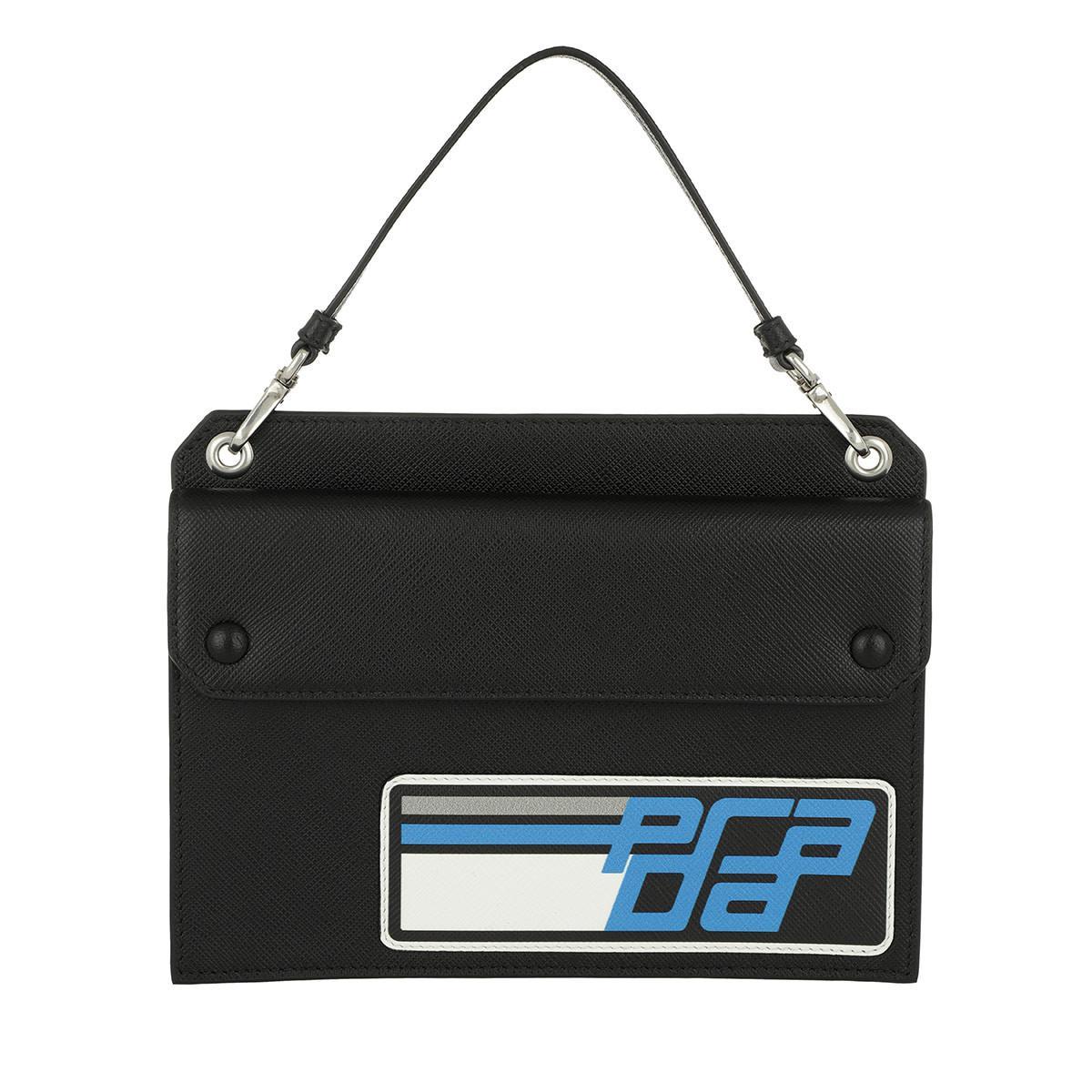 e5d3437981ed Prada Logo Mini Bag Leather Black blue in Black - Lyst