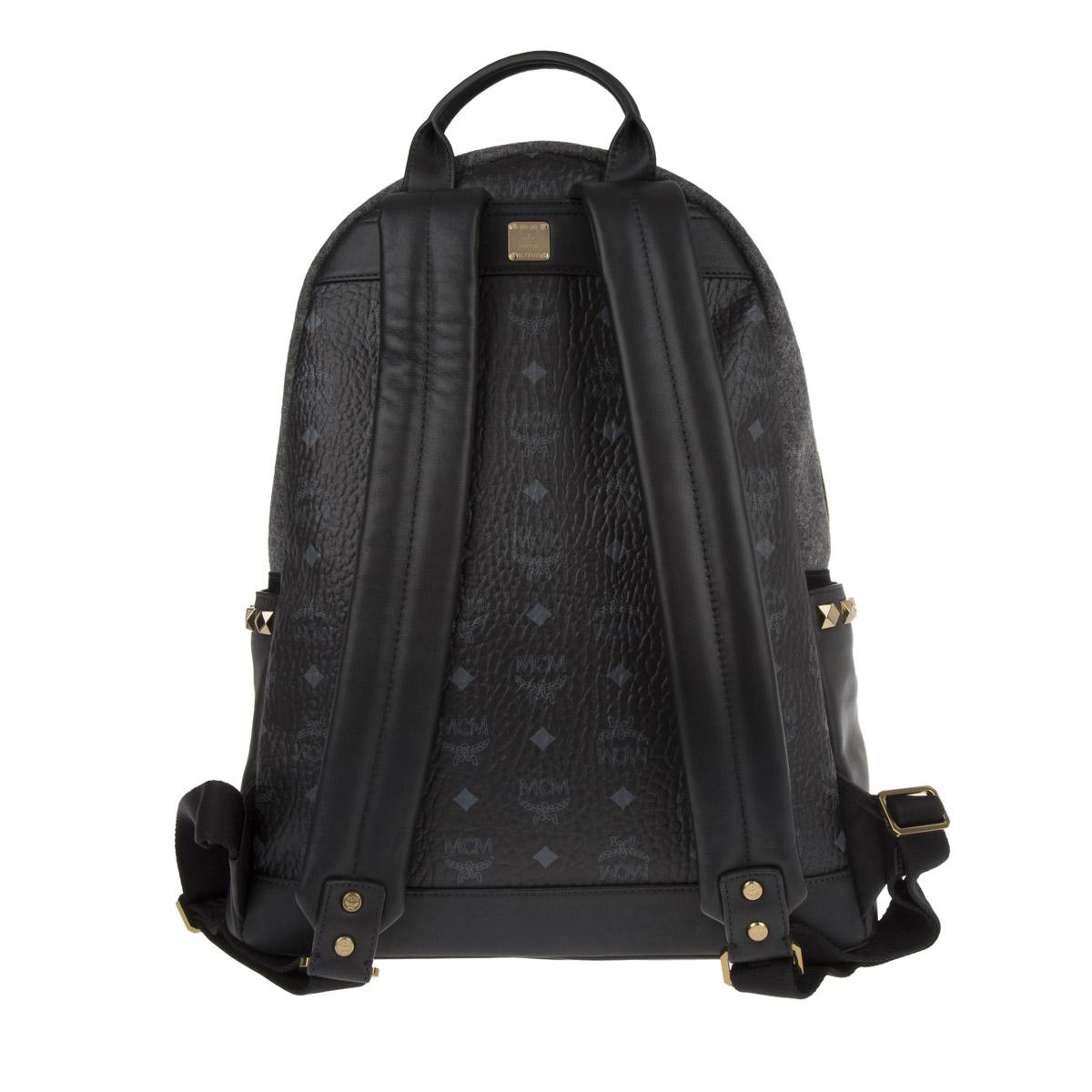 MCM Synthetic Stark Loden Backpack Medium Grey