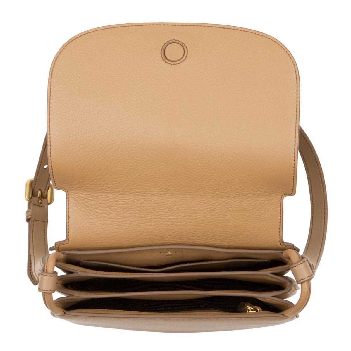 Prada Leather Vitello Daino Pattina Crossbody Bag Caramel in Grey
