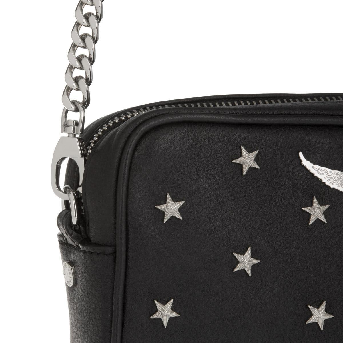 Zadig & Voltaire Leather Xs Boxy Stars Crossbody Black