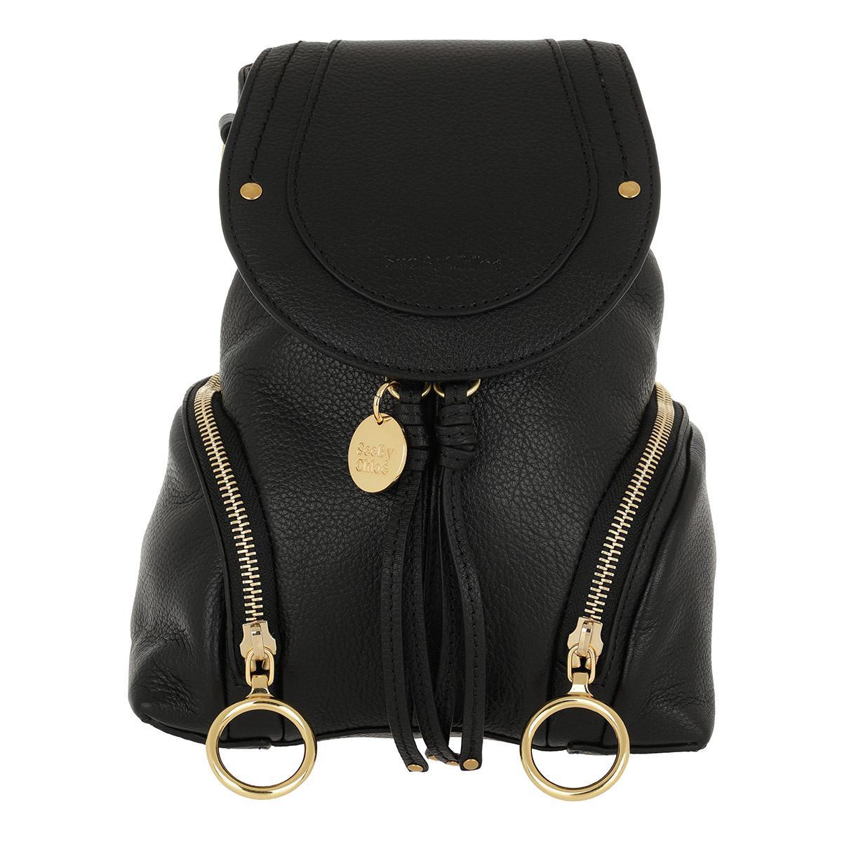 See By Chloé - Olga Backpack Small Calfskin Black - Lyst. View fullscreen 83b80ee0b6916