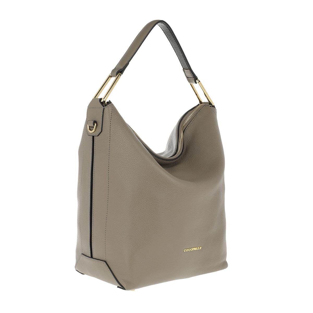 dea620877a34 Coccinelle Liya Leather Hobo Bag Taupe noir in Brown - Lyst