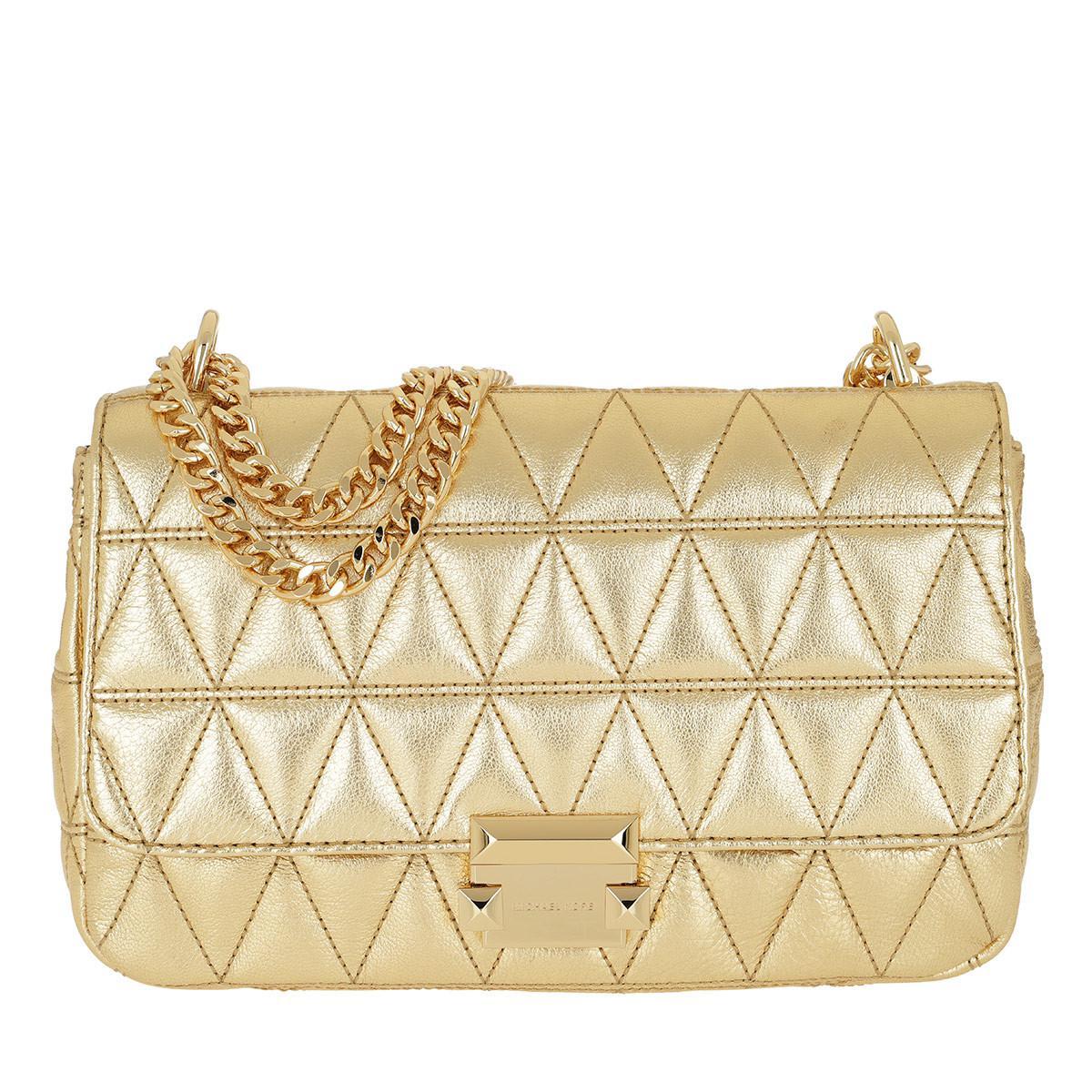 ddeb2590a806 ... france michael kors. womens metallic sloan lg chain shoulder bag old  gold 1b106 a3a30