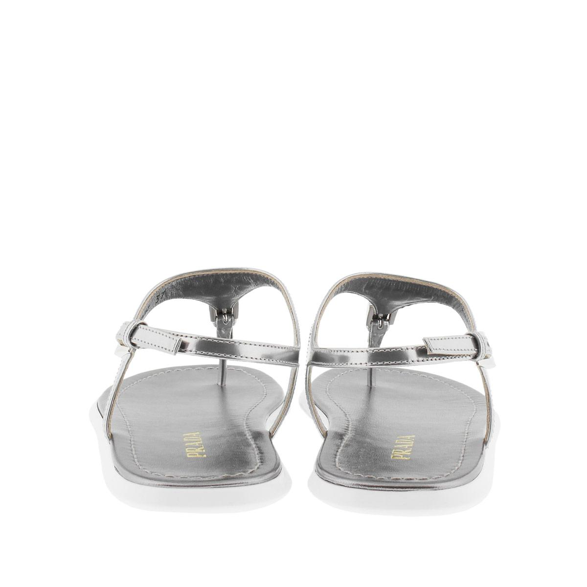 4107099bd Prada Calzature Donna Sandal Metal Leather Argento - Lyst