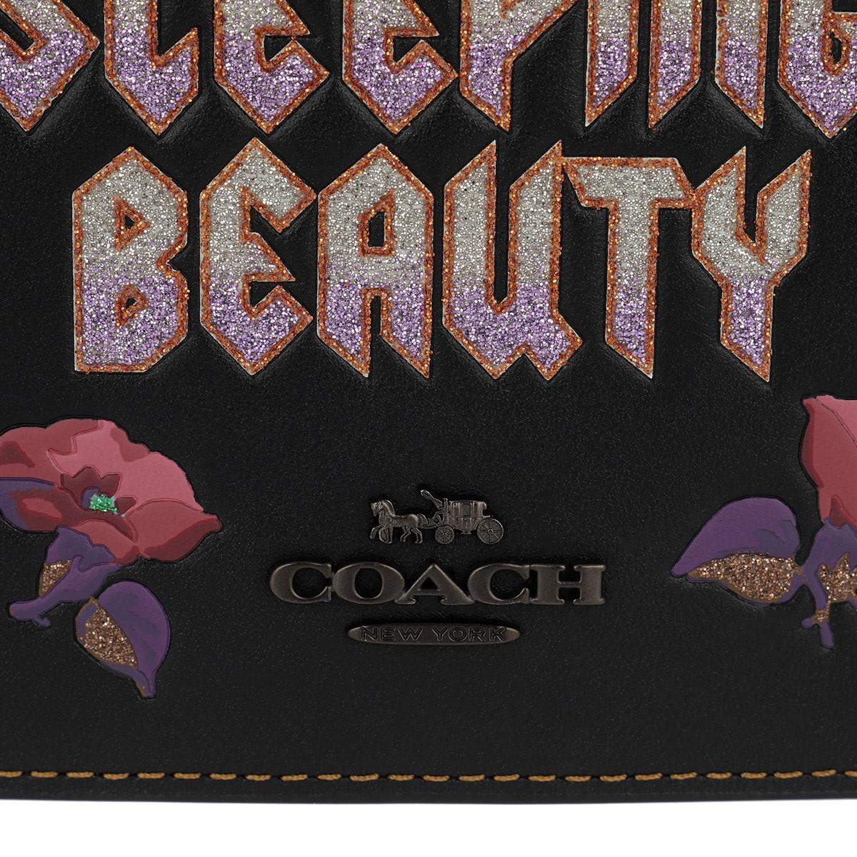 COACH Leather Sleeping Beauty Foldover Crossbody Clutch Black/magenta