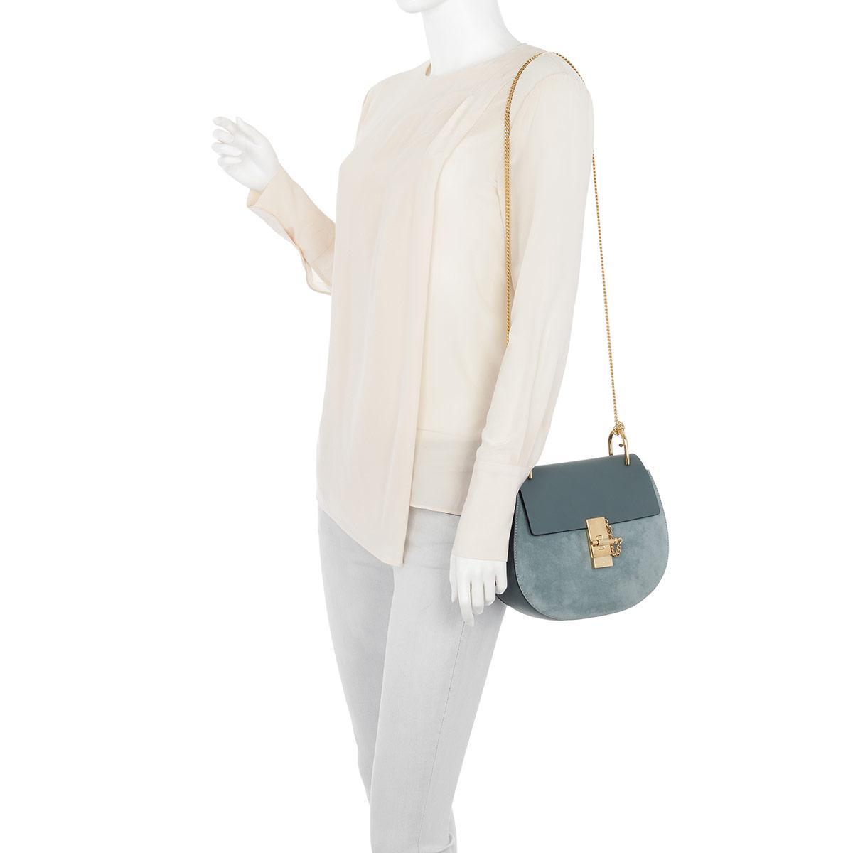 Chloé Drew Crossbody Bag Suede Cloudy Blue