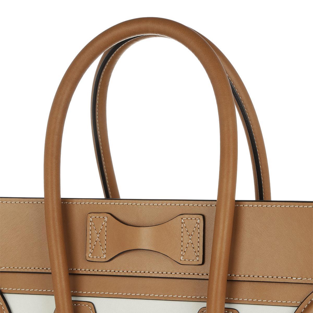 Celine Leather Luggage Tote Multicolor Micro Nude