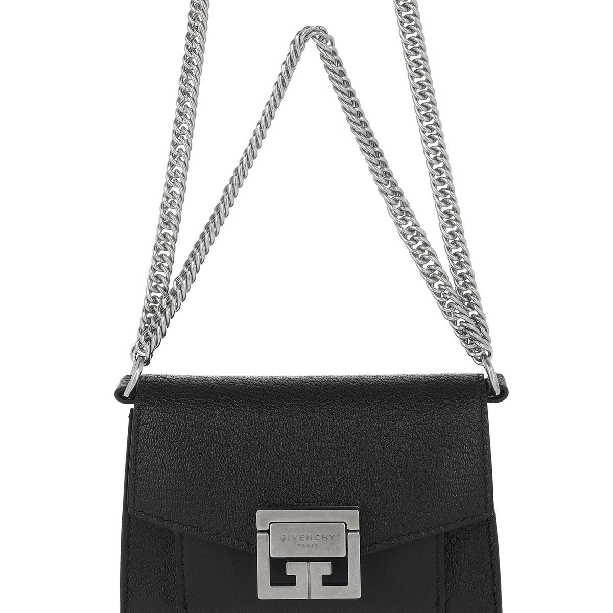 Givenchy Suede Gv3 Nano Crossbody Bag Black
