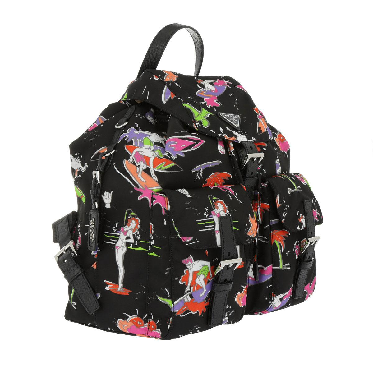 Prada Synthetic Surfer Print Nylon Backpack in Black/Print (Black)