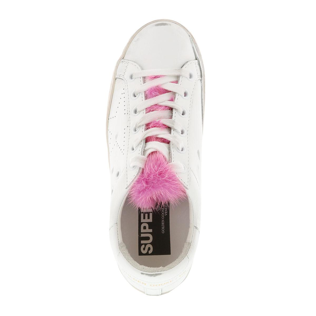 Golden Goose Deluxe Brand Leather Superstar Sneakers White/pink