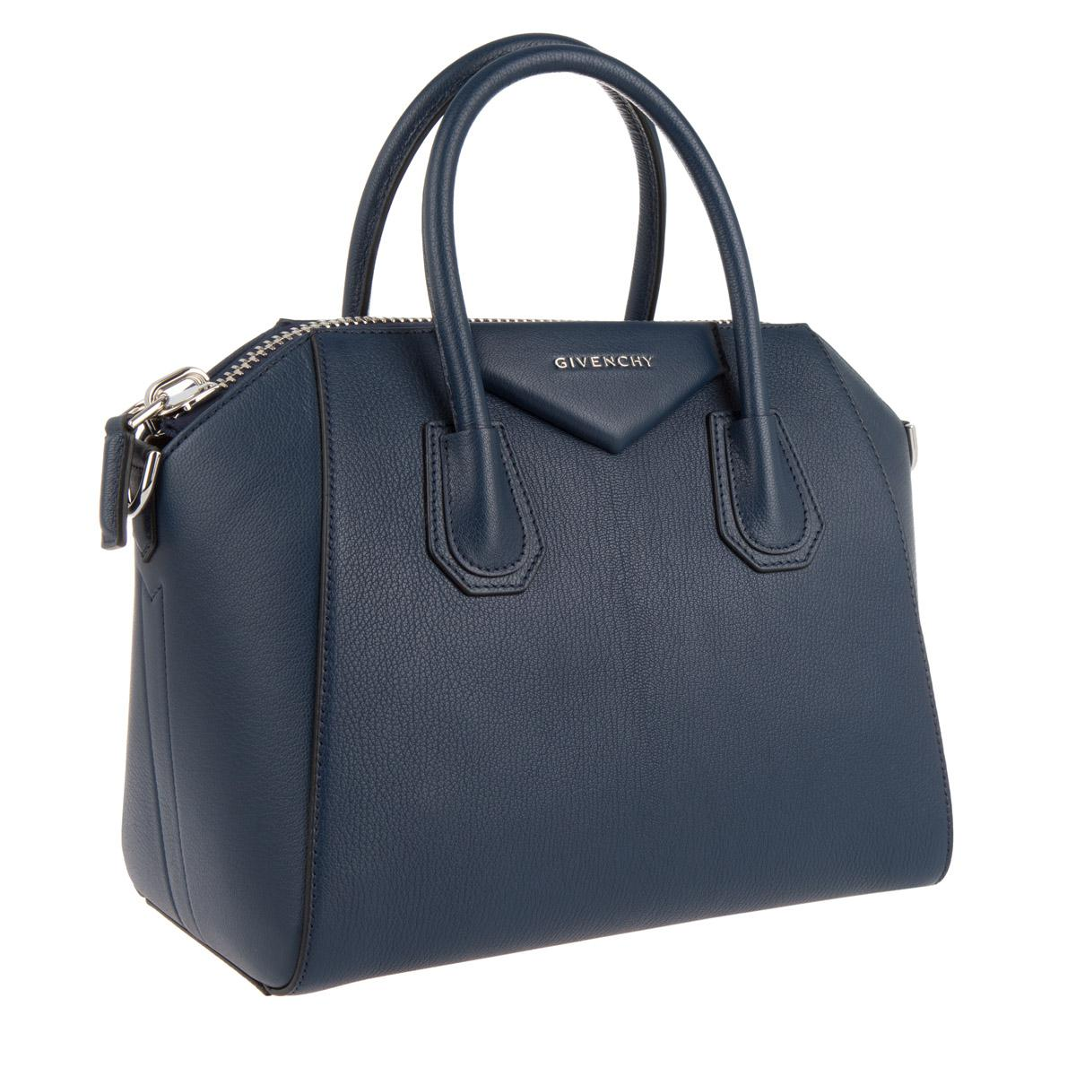 Givenchy Leather Antigona Small Tote Bag Blue