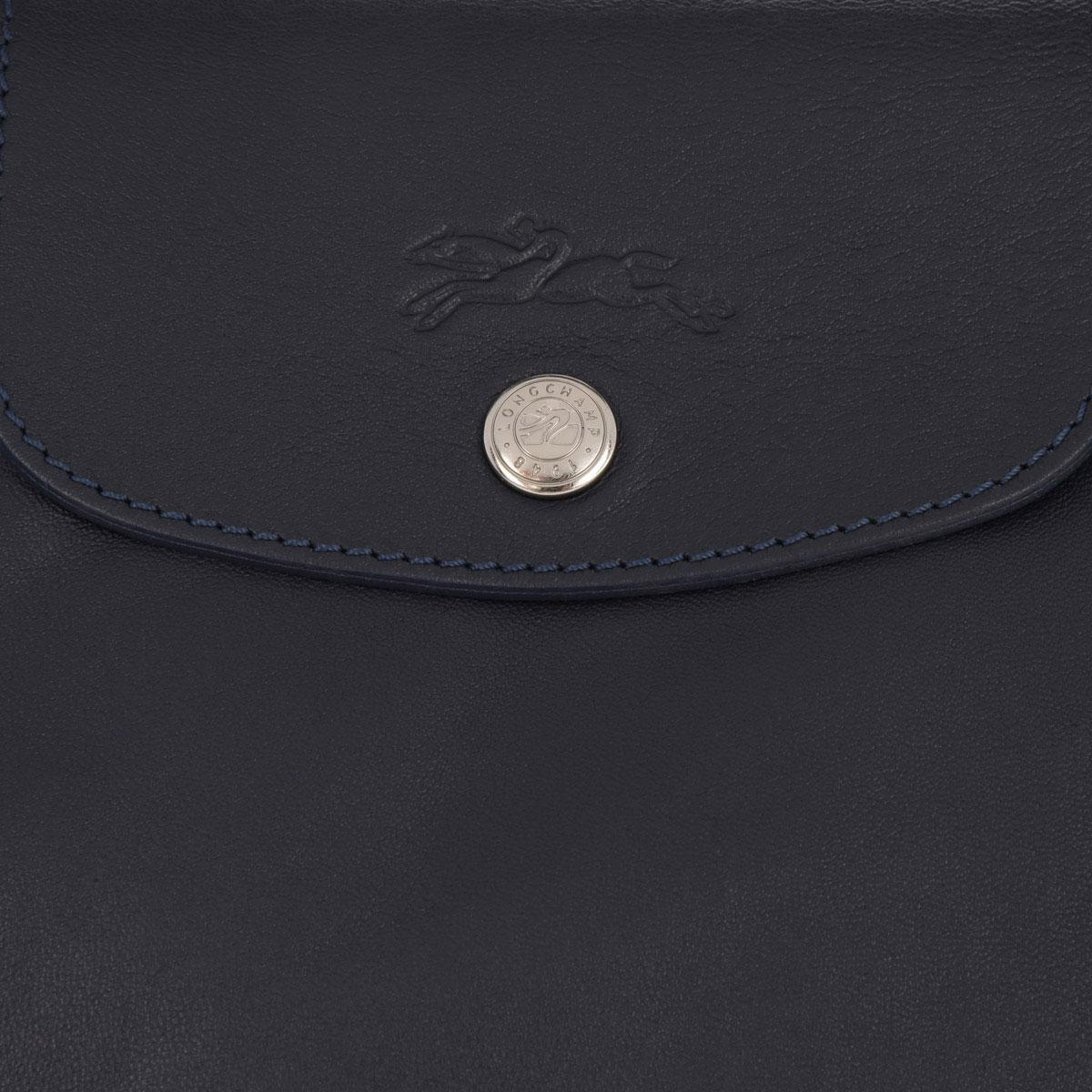 Longchamp Leather Le Pliage Cuir Tote Navy in Blue