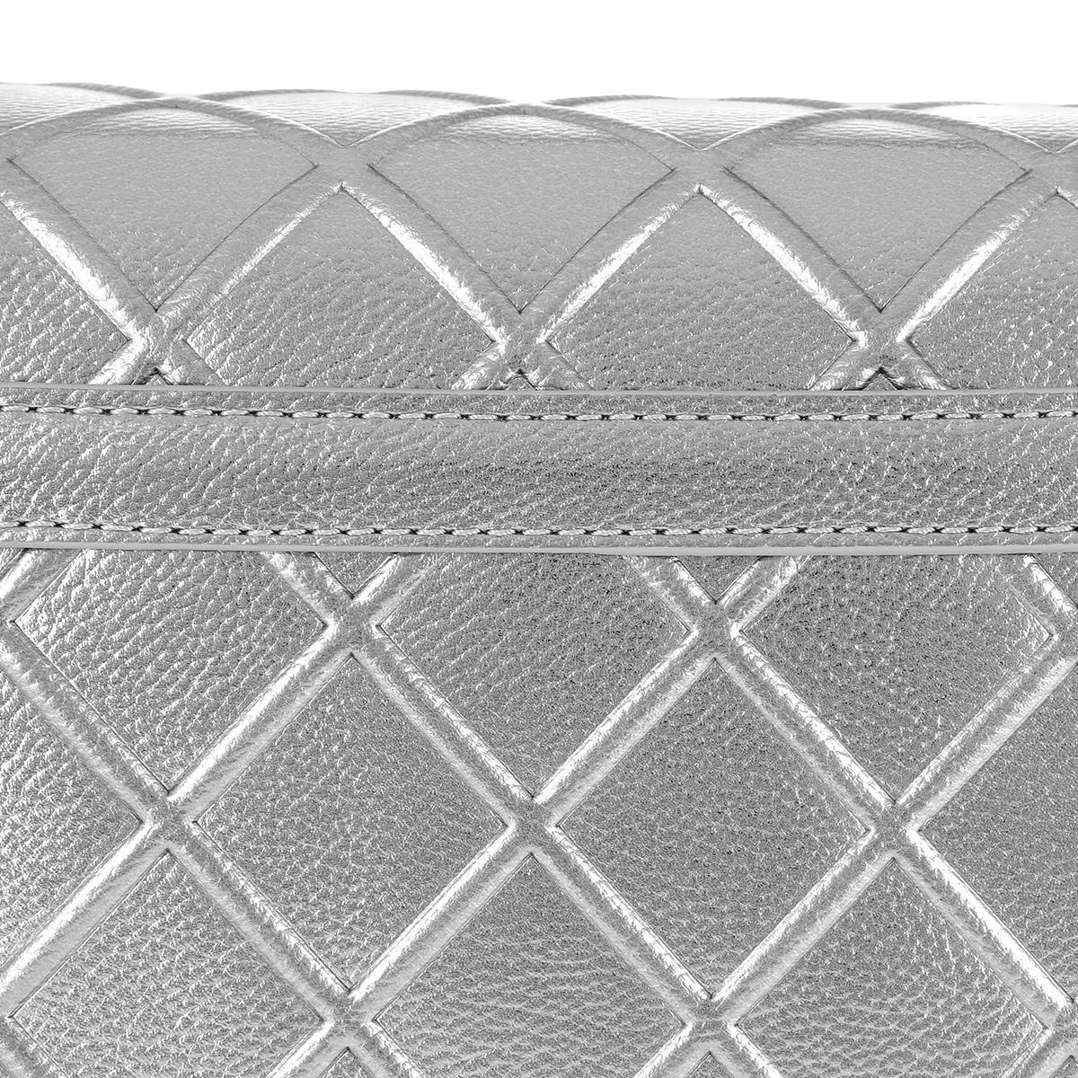 Love Moschino Leather Quilted Shoulder Bag in Silver (Metallic)