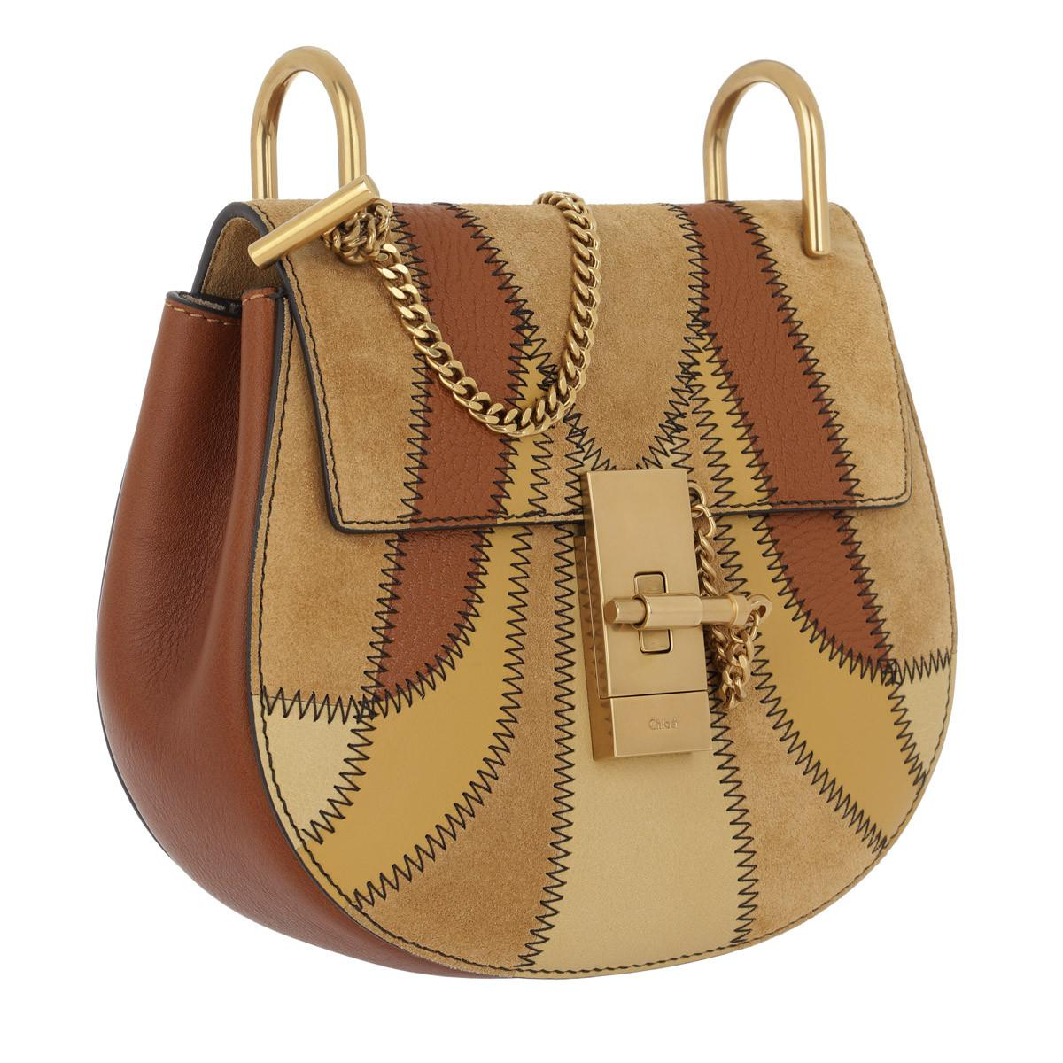 Chloé Suede Drew Patchwork Crossbody Bag Mini Caramel