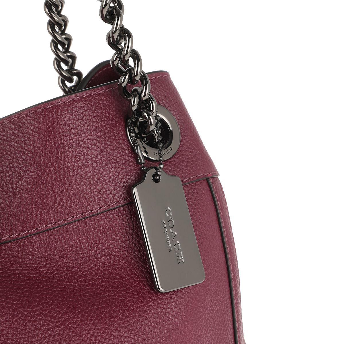 COACH - Red Polished Leather Turnlock Edie Shoulder Bag Dark Berry - Lyst.  View fullscreen 4305fc58923ec