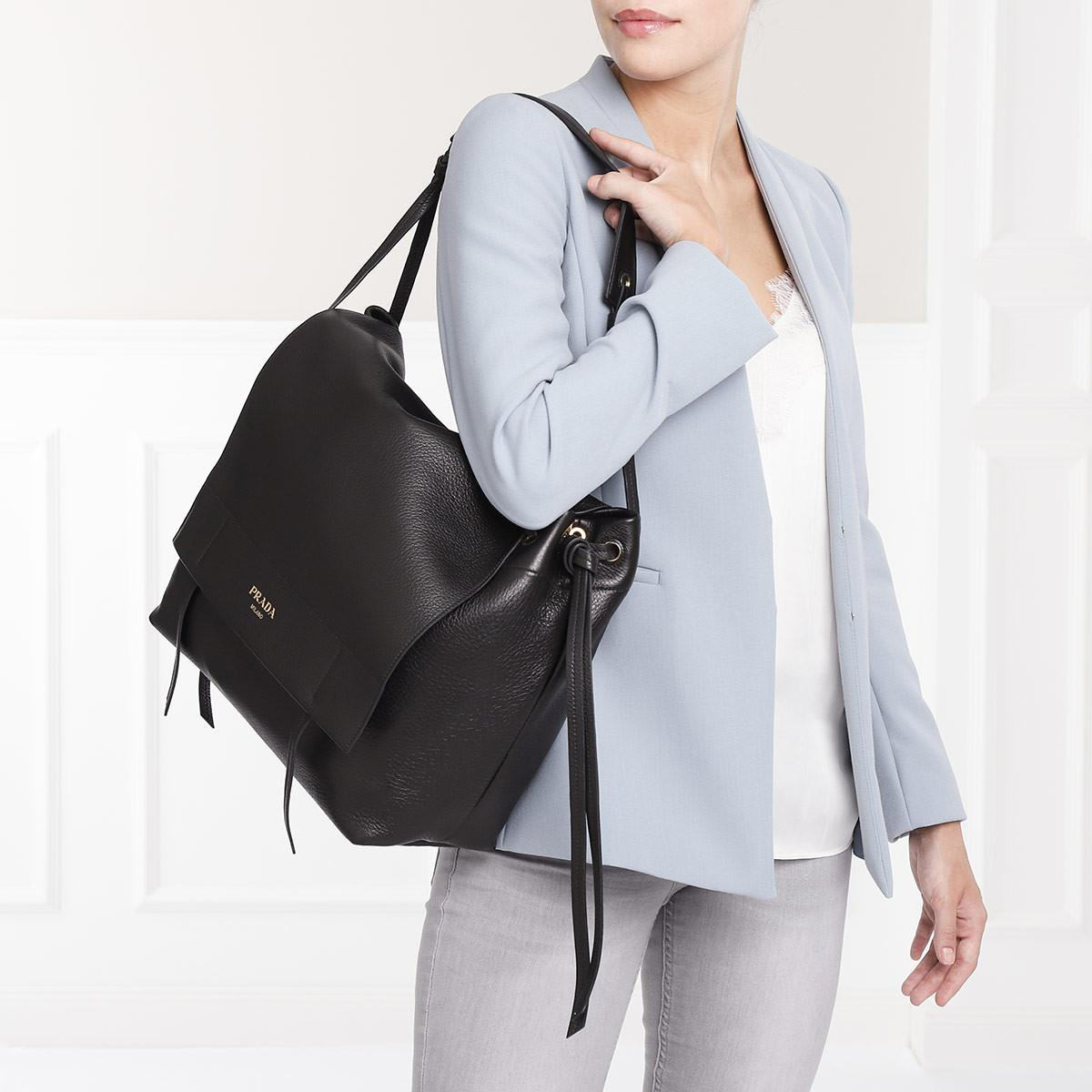 641d9889ee65 Prada - Black Shoulder Bag Grained Leather Nero - Lyst. View fullscreen