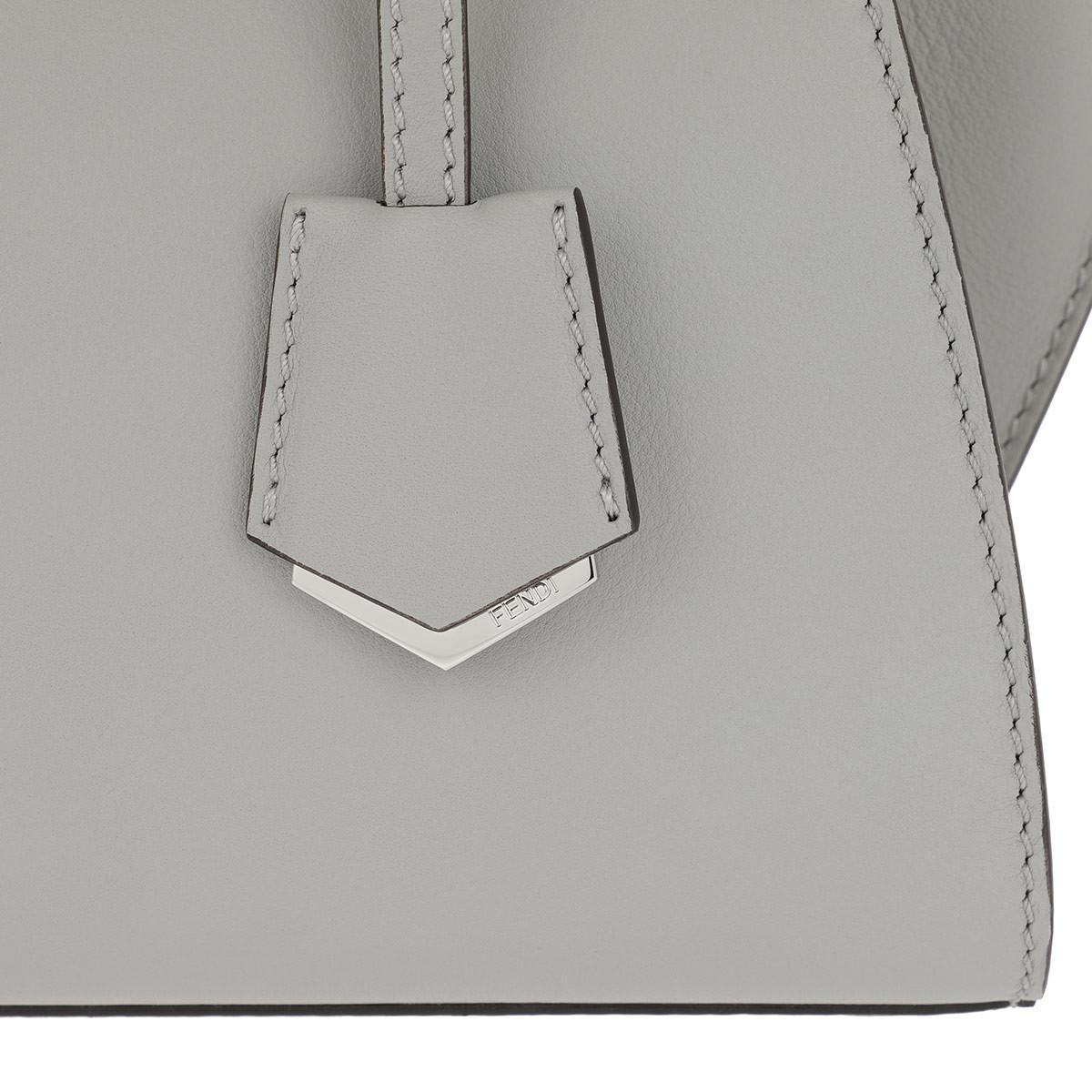 Fendi Leather 3jours Mini Tote Grey in Grey
