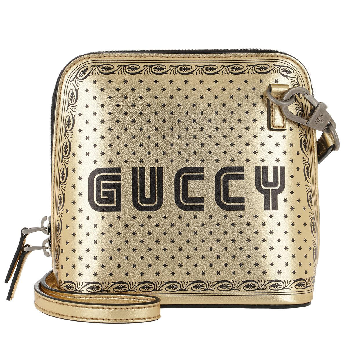 5ecc9baa7e3d8e Gucci Gold-tone Guccy Mini Leather Shoulder Bag in Metallic - Save ...