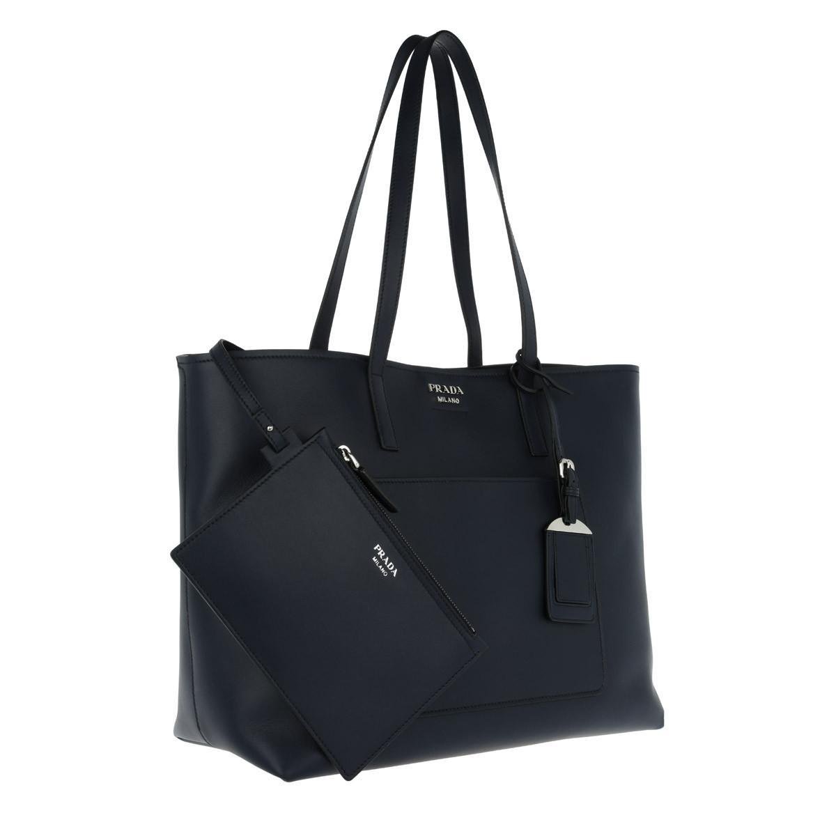 Tote - Dual Bag Calfskin Azzurro/Nero - blue, black - Tote for ladies Prada