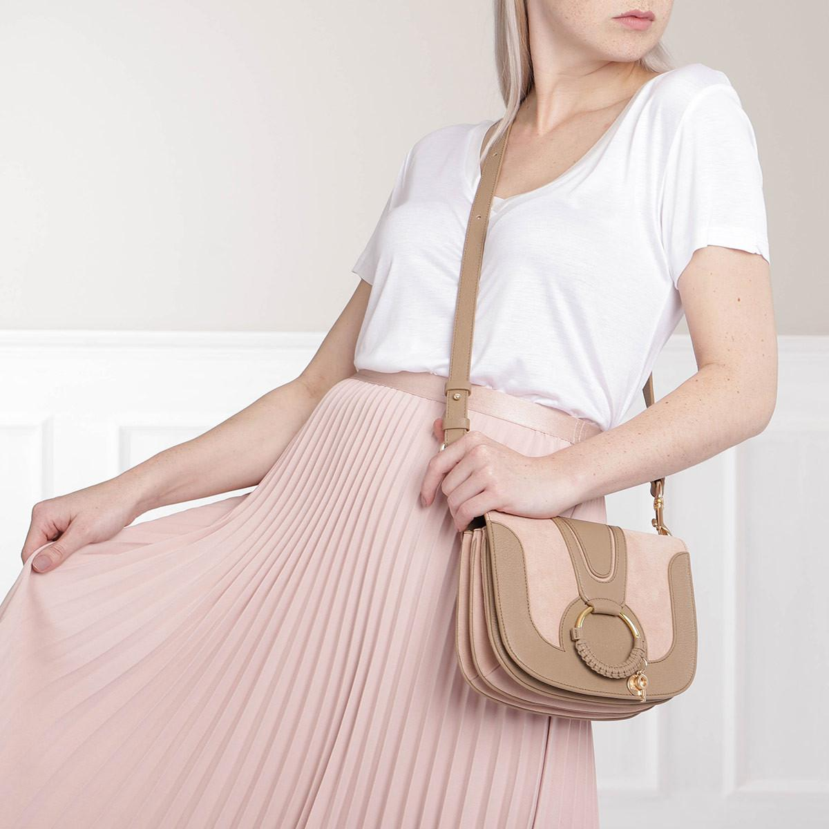 See By Chloé Hana Crossbody Suede Nomad Beige in Natural