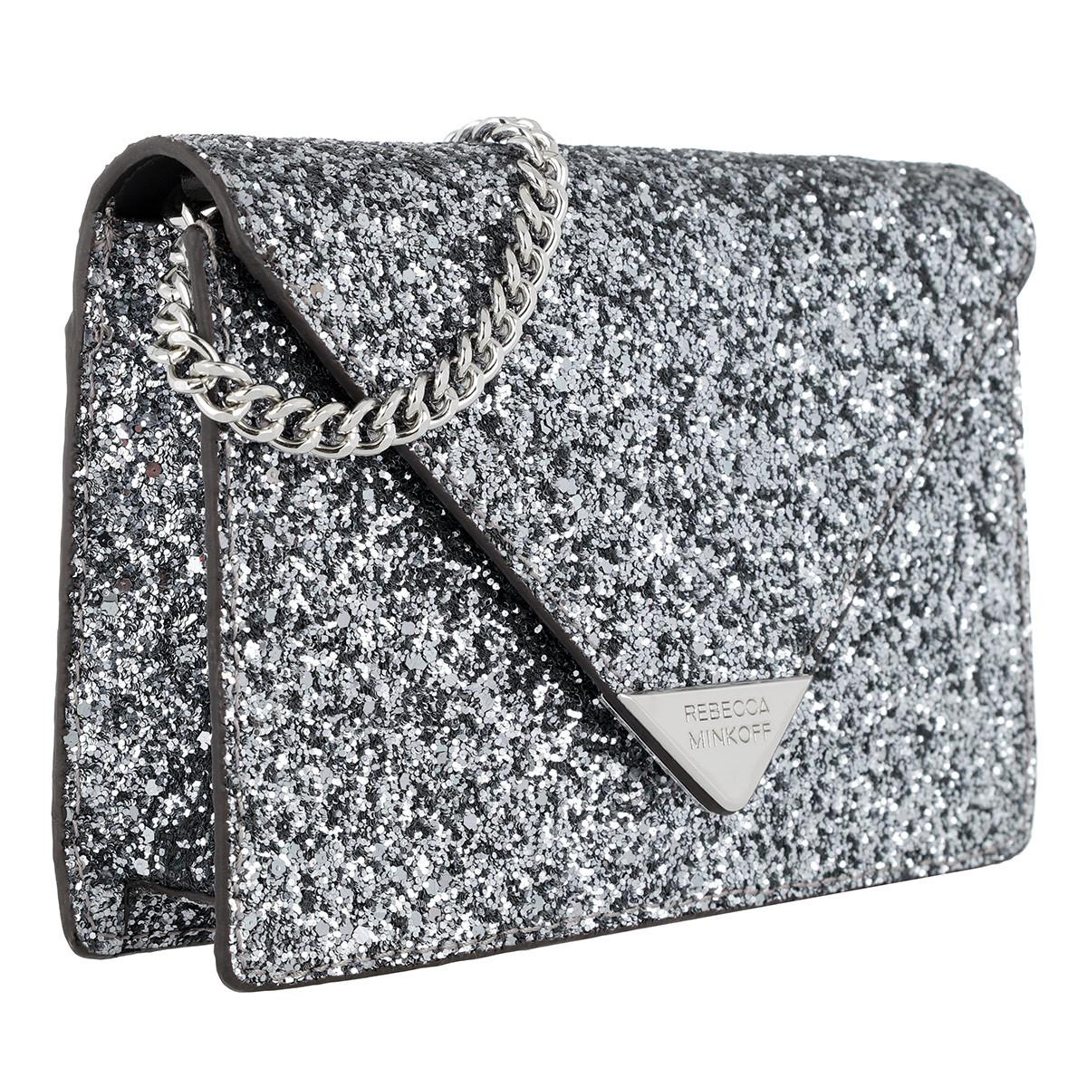Rebecca Minkoff Leather Molly Crossbody Silver in Metallic