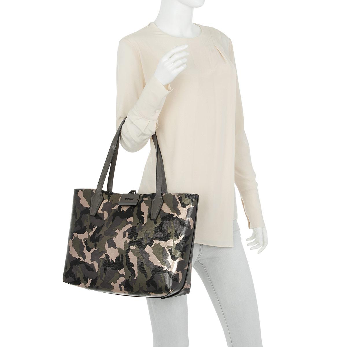 Guess Synthetic Bobbi Inside Out Tote Camo Grey in Grey
